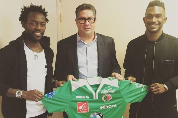 Pascal Feindouno (à gauche) avait signé il y a deux semaines avec le club ardennais.
