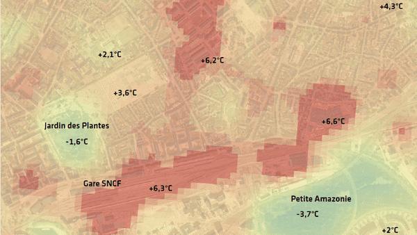 Carte des îlots de chaleur à Nantes