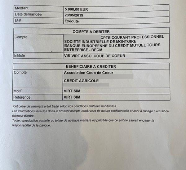 L'avis d'opération de virement entre le compte courant professionnel de l'entreprise SIM pour l'Association Coup de Coeur d'un montant de 5000€.