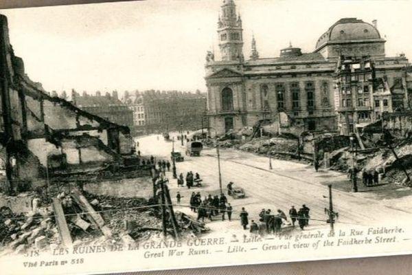 Les ruines de la rue Faidherbe à Lille durant la guerre 14-18