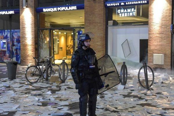 Cette banque a été saccagée à Toulouse le samedi 19 janvier 2019 à la fin d'une manifestation des Gilets jaunes.