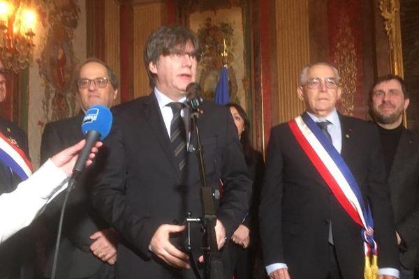 L'eurodéputé catalan a pris la parole, ce samedi matin à la mairie de Perpignan