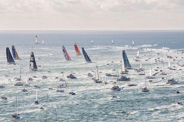 Les voiliers IMOCA au départ du dernier Vendée Globe, le 6 novembre 2016