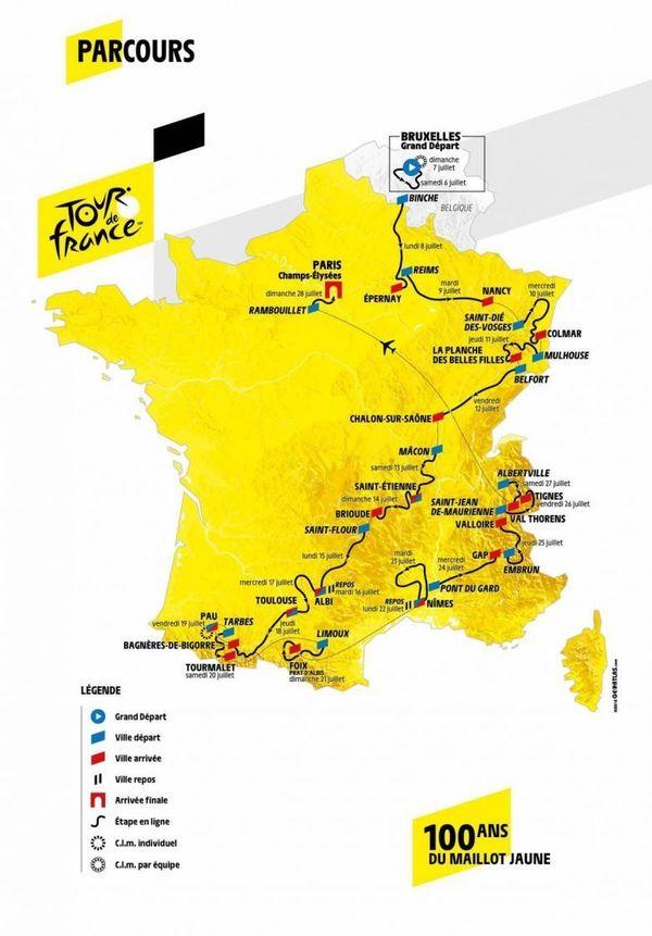 Petit rappel du Parcours du Tour de France 2019