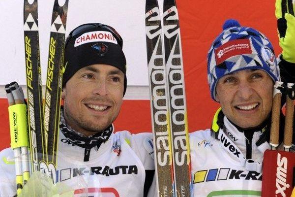 François Braud et Jason Lamy-Chappuis en mars dernier en Finlande