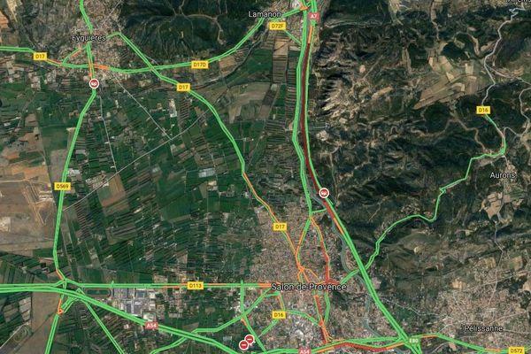 Circulation sur l'A7 entre Lamanon et Salon-de-Provence, lundi 20 janvier à 8h