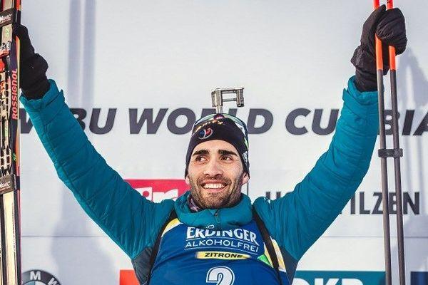 Martin Fourcade, le 15 décembre dernier lors de sa victoire sur la poursuite 12,5 kilomètres Biathlon à Hochfilzen en Autriche