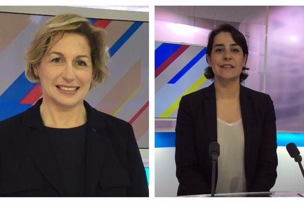 Nathalie Delattre, Parti Radical, et Frédérique Espagnac, sur le plateau de Dimanche en politique