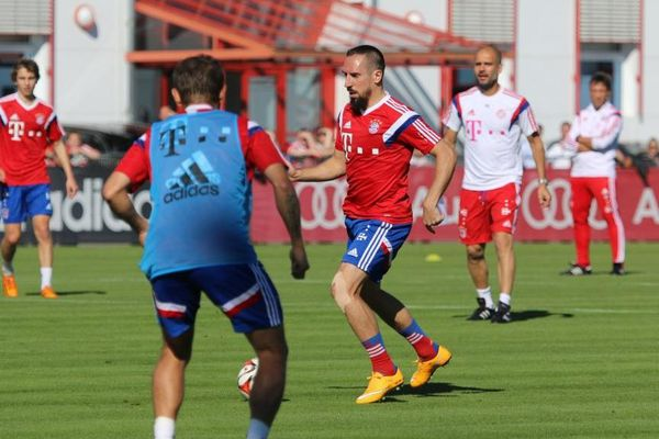 Franck Ribéry à l'entraînement du Bayern Munich ce mardi matin.