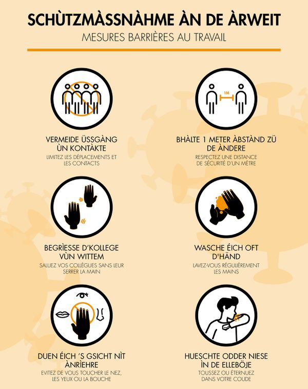 L'affiche sur les gestes barrière au travail, en version bas-rhinoise.