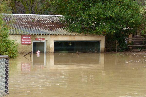 Entrée du vivarium à la réserve africaine de Sigean après les inondations novembre 2014