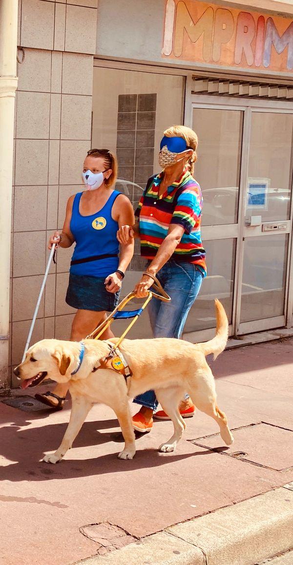 Nathalie Simon et Sandrine, éducatrice de chiens guides d'aveugles à Èze. A voir dans Chroniques Méditerranéennes, dimanche 4 avril à 12h55 sur France 3 Côte d'Azur et France 3 Provence-Alpes