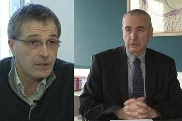 A gauche Alain Dreyfus-Schmidt, avocat du meurtrier présumé. A droite Yves Bouveresse, avocat de la famille Nasica.