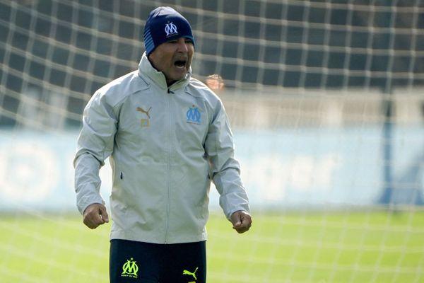 09/03/2021. Le nouvel entraîneur de l'OM Jorge Sampaoli a pris lundi ses fonctions à l'OM.