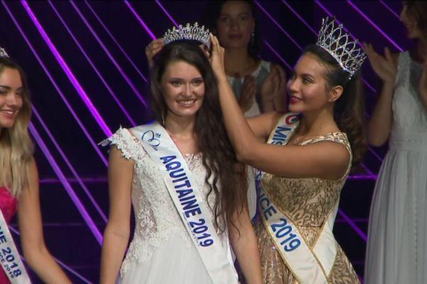 Justine Delmas couronnée Miss Aquitaine 2019 à Bergerac samedi 14 septembre.