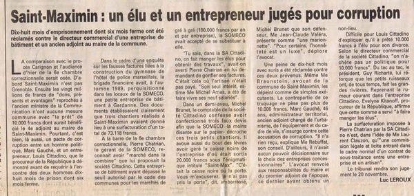 En 1995, Le Provençal raconte le procès de Marc Gauché à Marseille pour corruption