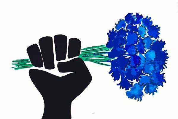 """Le Collectif a trouvé son logo, """"un point levé avec un bouquet de fleurs à la main""""."""