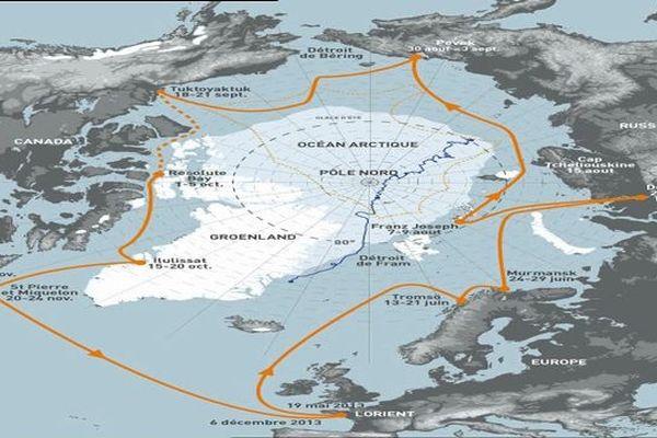 La carte du parcours du Tara