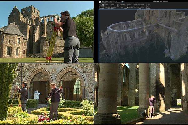 Pendant deux semaines, deux archéologues Normands  ont mesuré tous les éléments architecturaux de l'Abbaye de Hambye