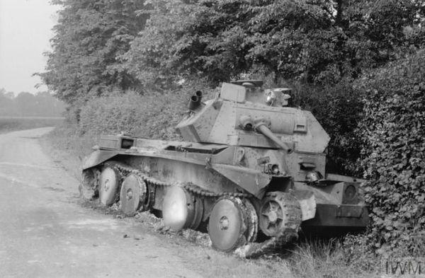 Un char britannique Cruiser Mk IV détruit lors d'un affrontement entre Huppy et Saint-Maxent, près d'Abbeville, le 27 mai 1940.