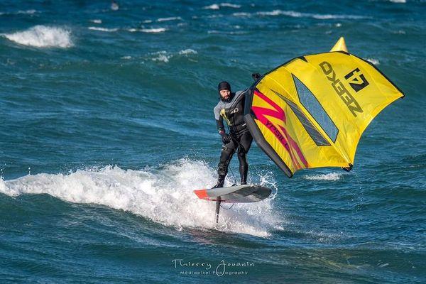 Nicolas Raffi sur son windfoil.