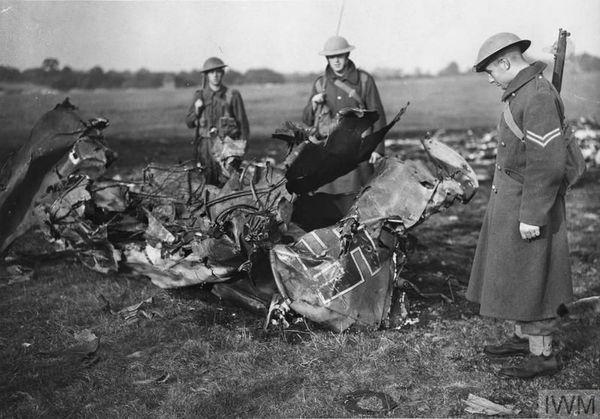 Les restes d'un Messerschmitt Bf110 abattu le 16 août 1940 lors d'un raid sur Croydon, au sud de Londres.