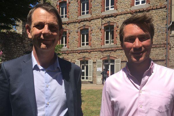 Les deux candidats centristes du premier tour des municipales à Saint-Brieuc annoncent une liste commune pour le second tour. A gauche sur la photo : Richard Rouxel. A droite : Corentin Poilbout.