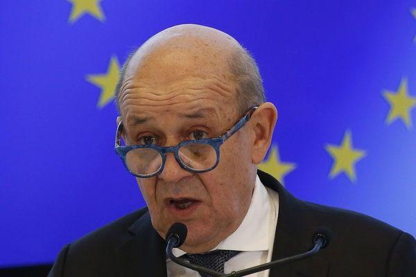 Le ministre des Affaire étrangères Jean-Yves Le Drian, lors d'une conférence de presse, le 7 juin 2020.