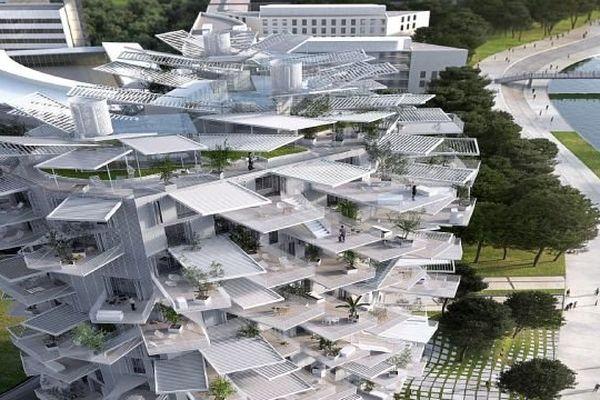 Montpellier - le sommet de la future tour de 17 étages de Fujimoto baptisée l'Arbre Blanc