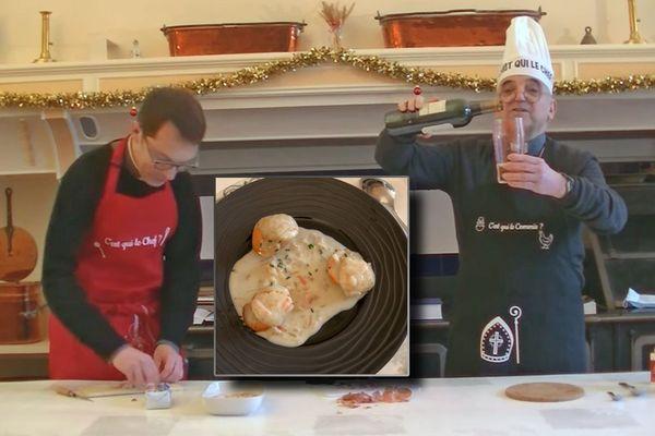Décembre 2020 - Recette de noix de Saint-Jacques au safran par l'archevêque de Rouen et son vicaire général.