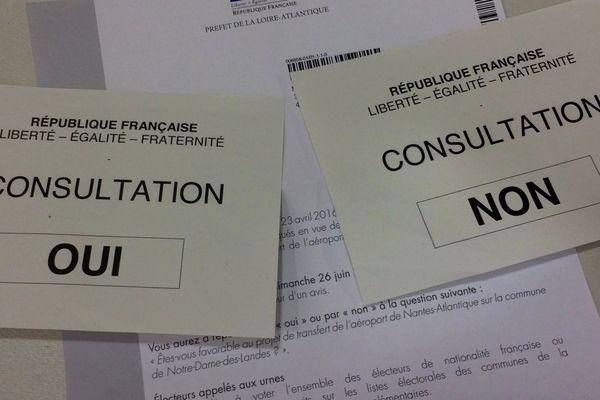 Les bulletins pour la consultation en Loire-Atlantique du 26 juin 2016 sur le projet d'aéroport de Notre-Dame-des-Landes.