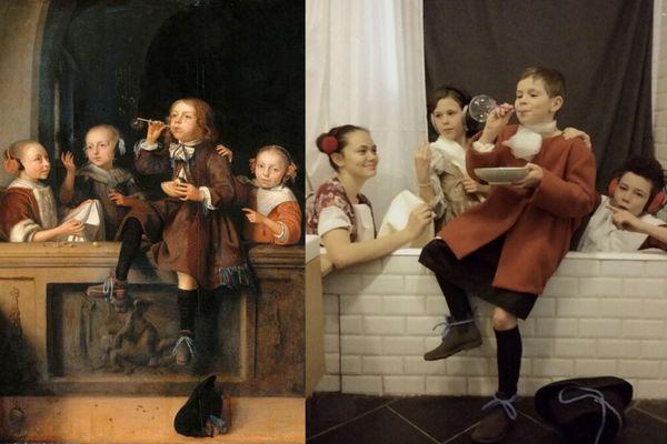 """De gauche à droite : Marie, Margot, Mine et Marcel ont reproduit l'œuvre """"Les Bulles de Savon""""."""