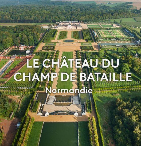 Vue aérienne des jardins du château du Champ de Bataille (Eure)