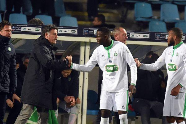Christophe Galtier et Hamidou Keita au stade Villeneuve d'Ascq, hier