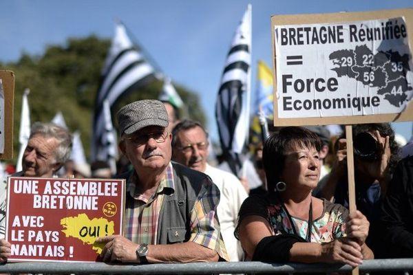 Pendant la manifestation du 27 septembre 2014 à Nantes