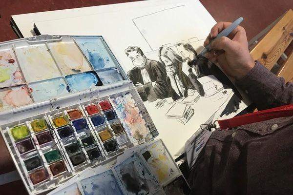 Valentin Pasquier est dessinateur de presse au procès Daval pour France Télévisions. (Cette image a été réalisée en dehors des salles d'audience)