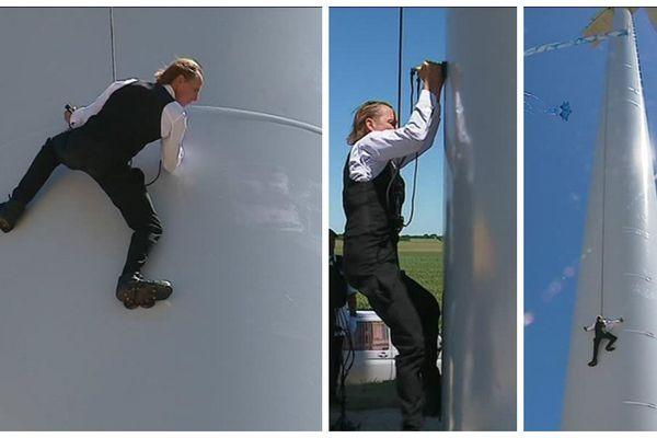 Escalader les 94 mètres de l'éolienne ne lui a pris que 18 minutes !