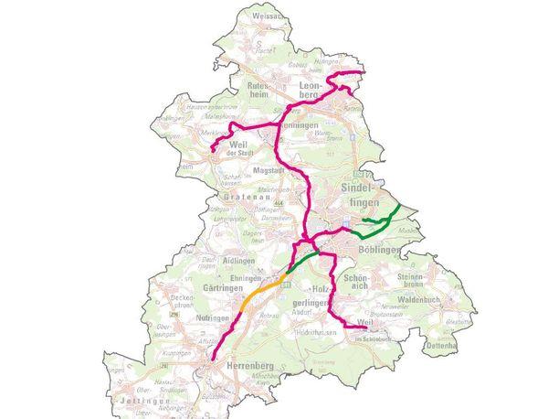 Carte du réseau (existant et en projet) de voies express pour vélos de l'arrondissement de Böblingen - en vert les voies existantes, en jaune le tronçon qui sera réalisé dans 2-3 ans, en rouge les voies express en projet