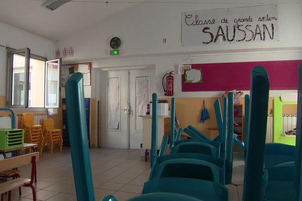 Classe de l'école maternelle La Marelle à Saussan (Hérault) - août 2021.