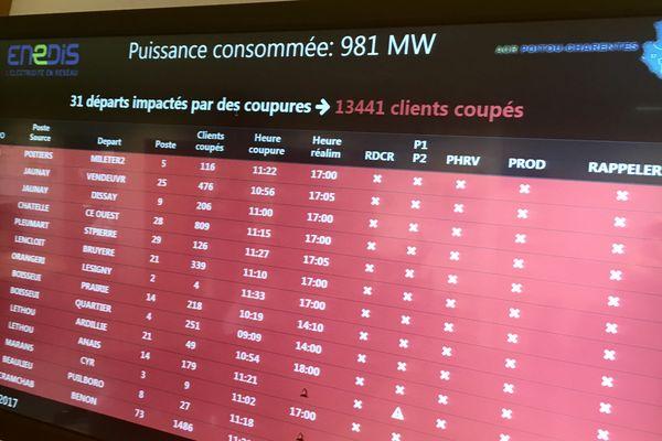 Le suivi en temps réel des coupures électriques en Poitou-Charentes par les équipes du réseau