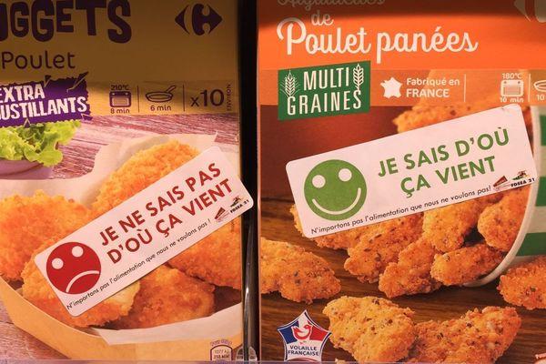 La FDSEA et les JA mènent des opérations de vérification des étiquettes pour savoir d'où viennent les produits alimentaires vendus en magasin.