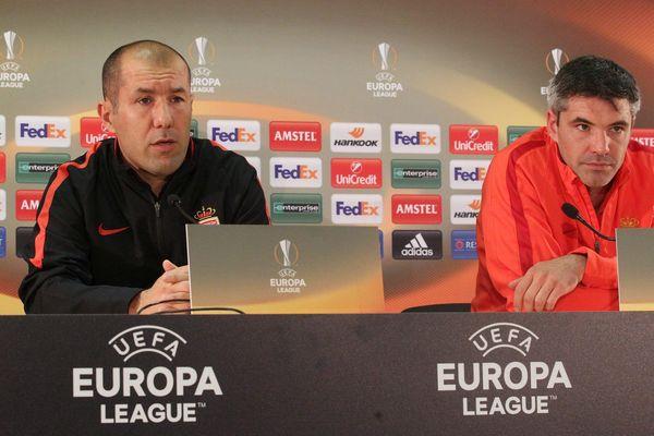 Leonardo Jardim et Jérémy Toulalan, en conférence de presse d'avant match mercredi soir à Monaco