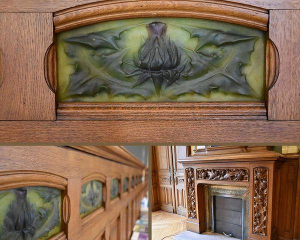Détails de la frise et de la cheminée qui ornent la salle Lyautey, à la CCI 54.