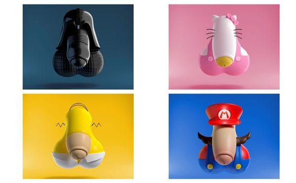 Dark Vador, Hello Kitty, Omer Simpson et Mario vus par l'illustrateur tourangeau Adam.