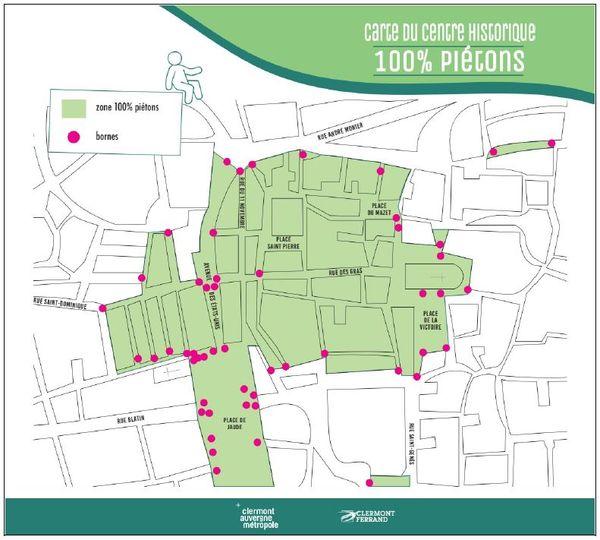 La carte de la zone piétonne du centre-ville de Clermont-Ferrand a peu évolué, mes les contrôles vont s'intensifier.