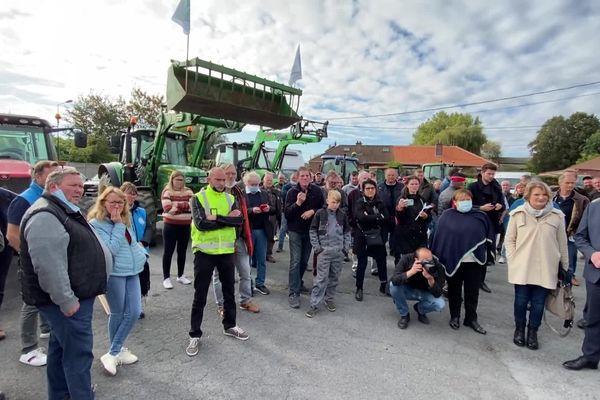 Manifestation des éleveurs contre la fermeture des abattoirs de Valenciennes, jeudi 14 octobre 2021