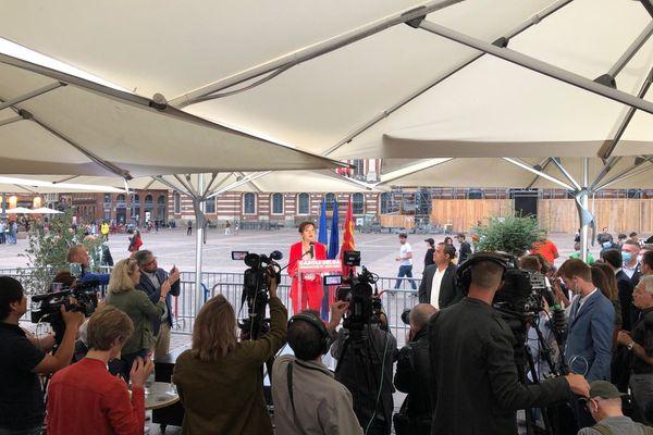 Carole Delga place du Capitole à Toulouse au second tour des élections régionales - 27 juin 2021.
