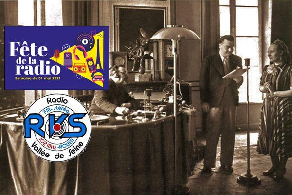 Un des studios de Radio Normandie à Caudebec-en-Caux en 1938. En médaillon : le logo de la 1e Fête de la radio et le premier visuel de RVS