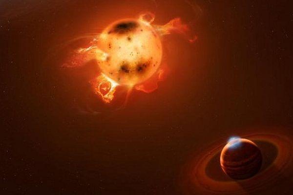 Vue d'artiste d'une jeune planète géante dans le disque d'une étoile en formation.