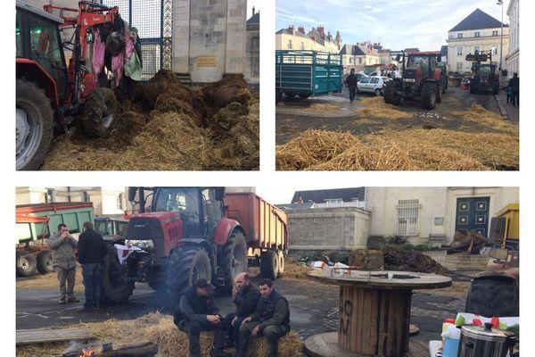 Zones défavorisées : mobilisation des agriculteurs devant la préfecture d'Indre-et-Loire - 16 février 2018